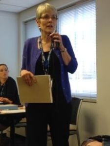 Carolyn McAllaster leading SASI meeting at AIDS Watch