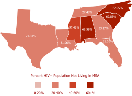 Map of % of PLWHA in Deep South States Living outside MSA eligible for CBO funding